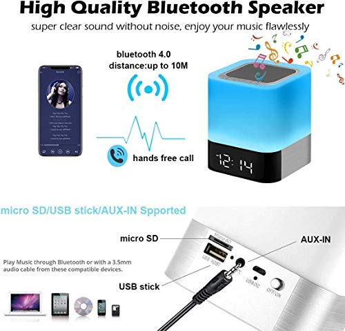Night Lights Bluetooth Speaker, Alarm Clock Bluetooth Speaker Touch Sensor Bedside Lamp Dimmable Multi-Color Changing…