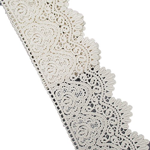 Beige Cotton Embroidered Eyelet Lace Trim Ribbon For Garment Home Decor DIY Craft Supply By 5 Yards (Embroidered Lace Trim)
