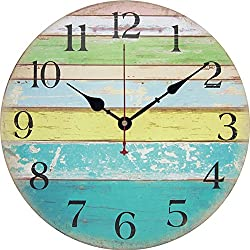 Yesee Silent Wall Clock Battery Operated Non Ticking, 12'' Vintage Large Wood Wall Clock Decorative for Kids Bedroom Kitchen Living Room.[No Case] (12 inch, Ocean)