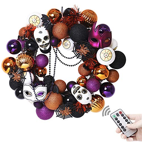 """V&M VALERY MADELYN 20"""" Pre-Lit Fun Halloween Wreath with Spooky, Halloween Ornaments for Front Door, Halloween Lights with Remote and Timer"""