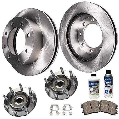 Detroit Axle - Pair Front Wheel Bearing Hub Assemblies and Disc Brake Rotors w/Ceramic Pads and Brake Cleaner for 01-06 Chevy GMC Silverado Sierra 2500 HD/ 3500 - [02-04 Avalanche ()