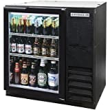 Beverage-Air BB36G-1-B-27 36'' One Glass Door Back Bar Refrigerator 8.8 cu. ft. Capacity with Black Exterior Finish Side Mounted Compressor and 2'' Stainless Steel