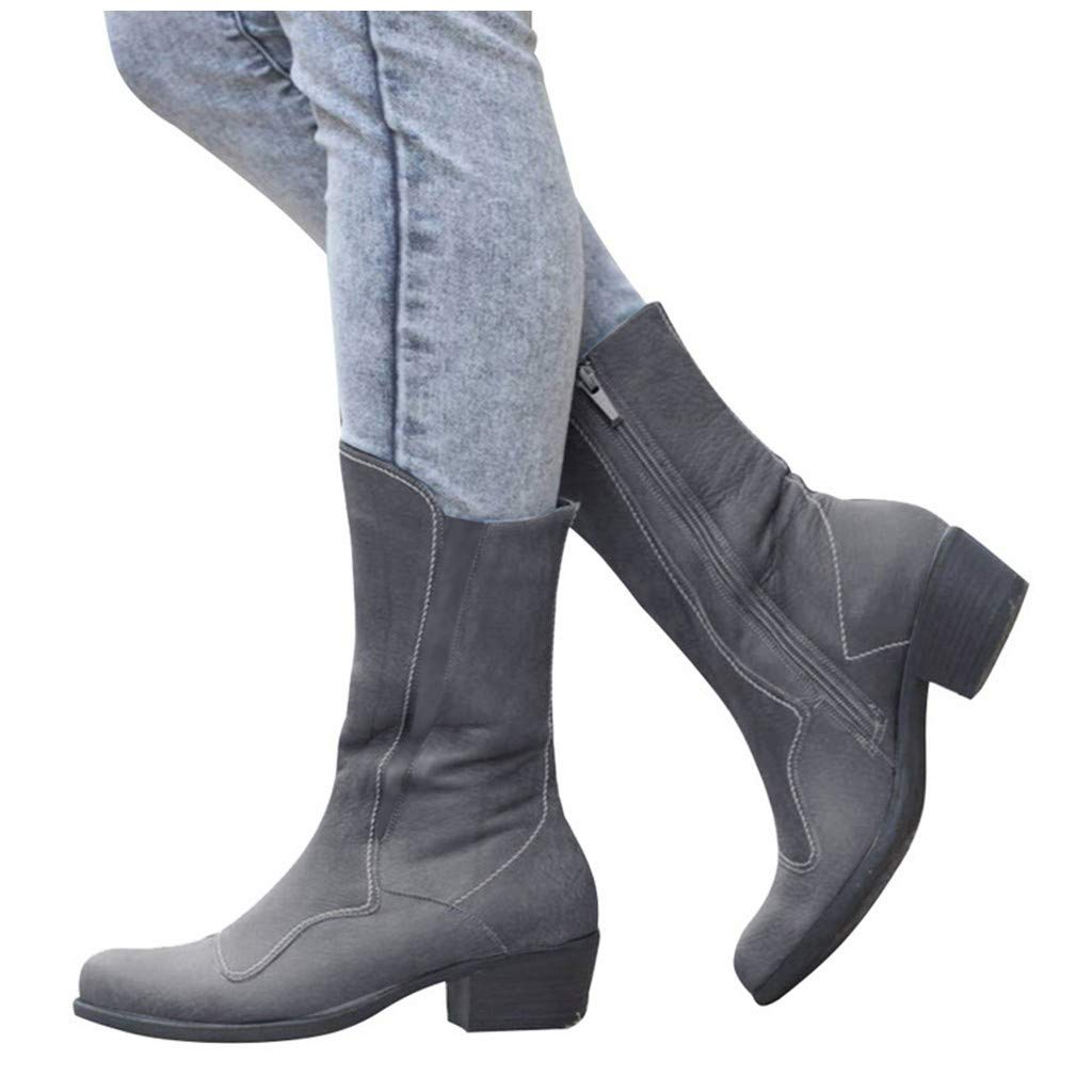 Vibola Women Mid-Calf PU Leather Boots Low Stacked Heel Casual Side Zipper Round Toe Middle Tube Roman Shoe by Vibola