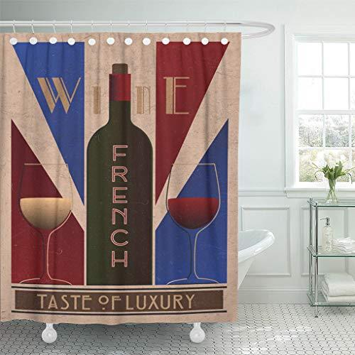 Semtomn Home Bathroom Decorative Shower Curtain Purple Here Ru Listing 508712887 French Wine Posterold 78x72 Inch Waterproof Bathroom Decor Set with Hooks