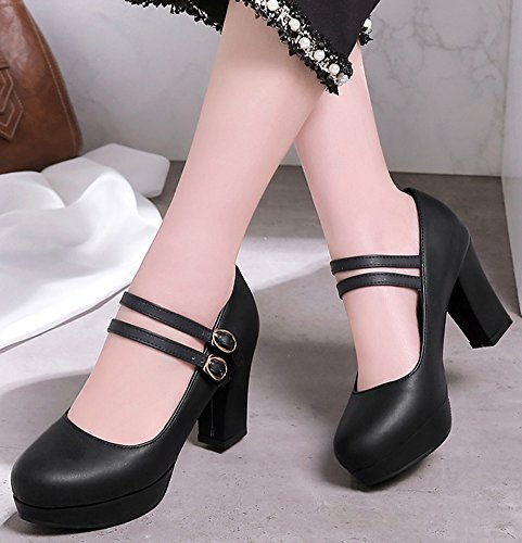 IDIFU Womens Sweet Chunky High Heel Round Toe Office Pumps Shoes With Ankle Strap Black wDxeDRdXjP