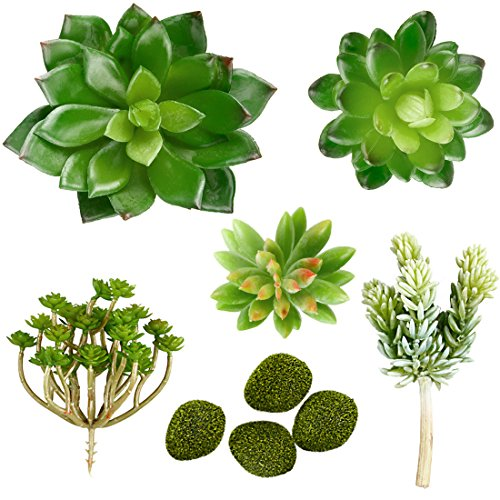 Muyee 9 Pcs Unpotted Fake Succulents Assorted Faux Succulent in Different Green Artificial Succulents Textured Faux Succulent Pick Plant for Wedding Centerpieces