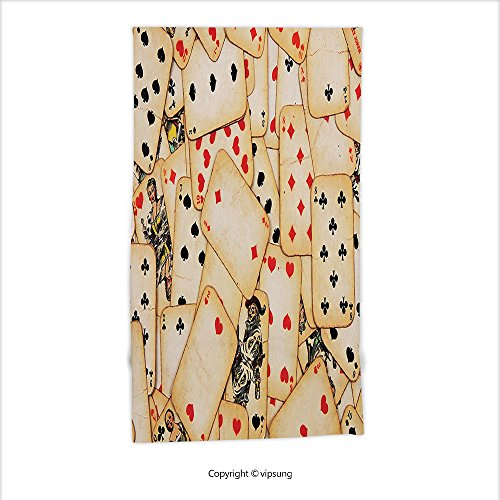 Vipsung Microfiber Ultra Soft Hand Towel-Casino Decorations Collection Old Playing Cards Vintage Classic Style Entertaining Wealth Fortune Theme For Hotel Spa Beach Pool Bath - Chippendales Playing Cards