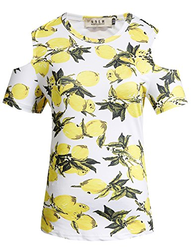 SSLR Women's Crew Neck Cold Shoulder Short Sleeve Hawaiian T-Shirt (Medium, White) - Mia Print Blouse