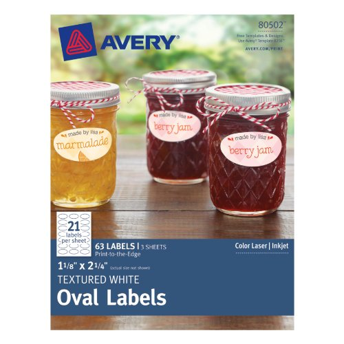 Avery Textured Oval Labels White, 1.125 x 2.25 Inches, Pack of 63 (80502)