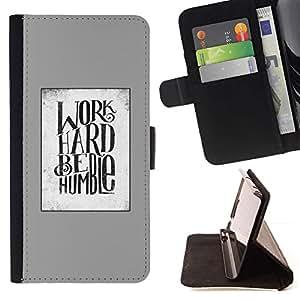 For HTC One A9 Case , Trabajo duro Cita Gris Blanco Motivación texto- la tarjeta de Crédito Slots PU Funda de cuero Monedero caso cubierta de piel