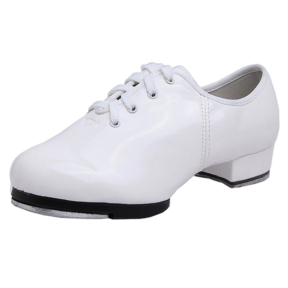 Pierides Little Kids Boys Tap Shoes with 1.2'' Heel,White Synthetic,4 M US Big Kid