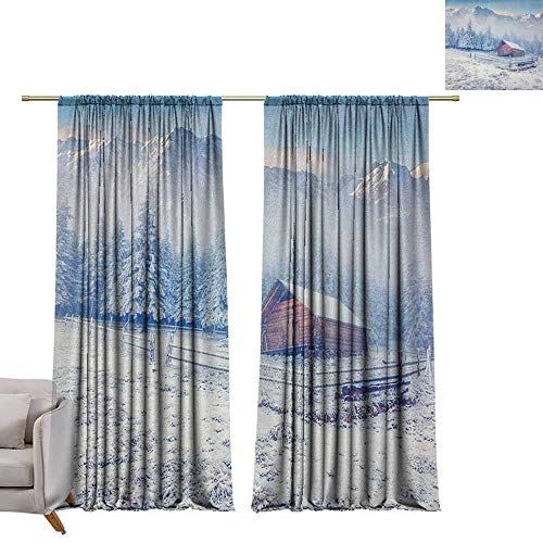 """Tr.G 54"""" W x 72"""" L Blackout Curtains for Bedroom for Bedroom&Kitchen&Living Room Winter,Old Farmhouse in Snow Mountains and Frosted Forest Rustic Life Photography Caramel White Blue"""