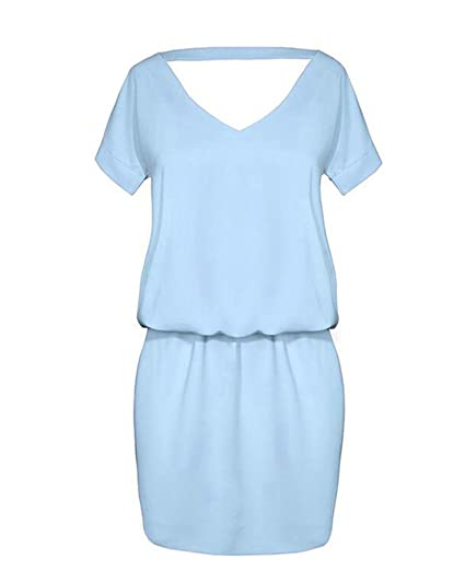 Vestido camisa Casual manga corta De La Gasa Verano de las mujeres V-Cuello Vestido De Fiesta Moda Playa Vestido: Amazon.es: Ropa y accesorios