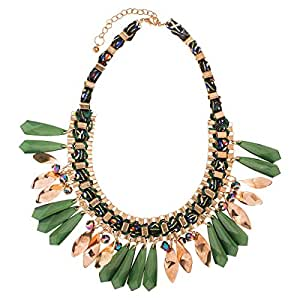 Just Showoff Women's Alloy Emerald Green Dangling Necklace