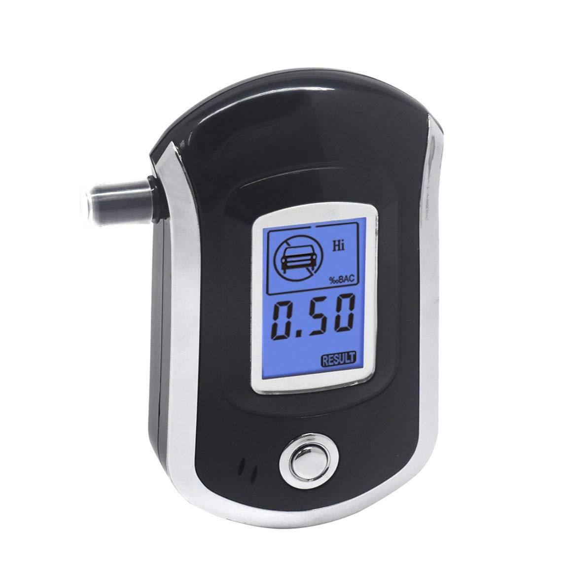AT-6000 alcohol/ímetro Detector de alcohol Pantalla LCD digital Bater/ía Potencia-Sujeci/ón manual BAC Tracker profesional con 5 boquillas color: negro