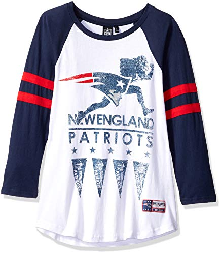 Nfl Game Gear Tee - ICER Brands NFL New England Patriots Women's T-Shirt Running Game 3/4 Long Sleeve Tee Shirt, Medium, White