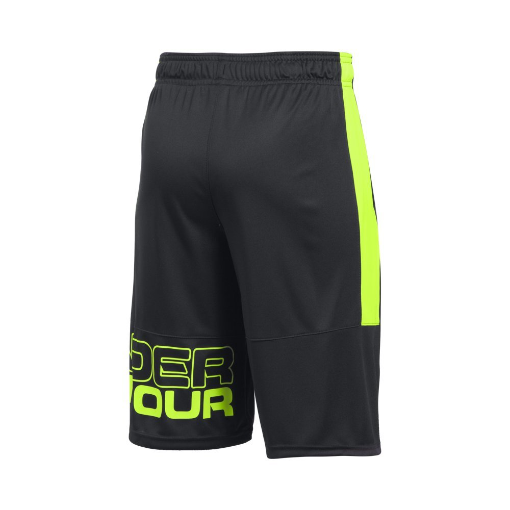 Under Armour Boys Instinct Shorts,Black /Fuel Green Youth X-Small