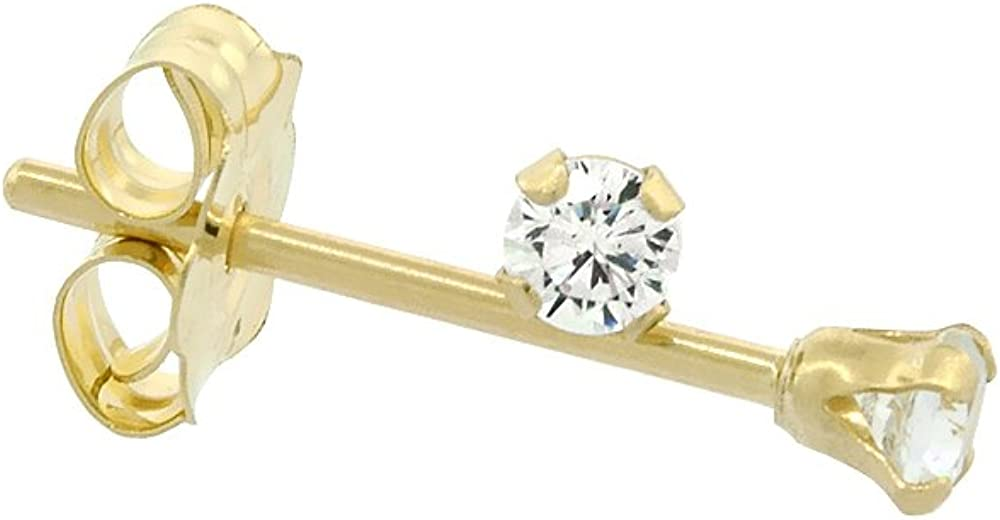 Tiny 14K Yellow Gold 2mm Cubic Zirconia Stud Earrings Cartilage Nose Studs Women 4 prong 0.06 ct/pr
