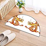 Semicircle Area Rug Carpet Identical Twin Dragons on Symmetric Axis Religious Mythic Featured Heritage Animal Design Door mat Indoors Bathroom Mats Non Slip W33 x H22 INCH