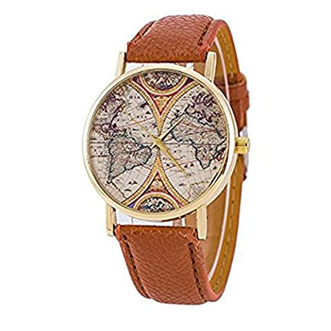 LYMFHCH 4 Color Geneva Platinum New World Earth Map Leather Quartz Watches Brown Gold … (Brown Leather Geneva Watch)