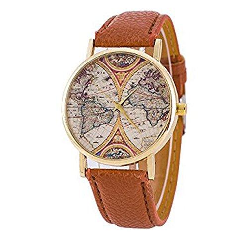 Unisex Watch Quartz Wristwatch World Map Leather Band 1 - 5
