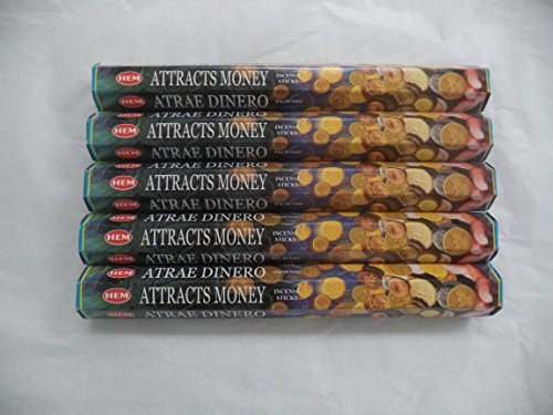 HEM Attracts Money 100 Incense Sticks (5 x 20 stick packs) by Hem (Money Incense Pack)