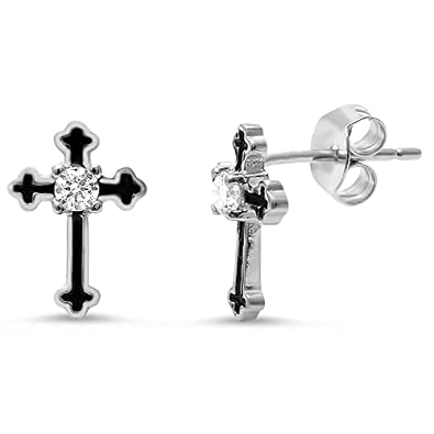 d45adb14b Amazon.com: Sterling Silver Cross Earrings with Black Enamel Inlay - Silver:  Jewelry