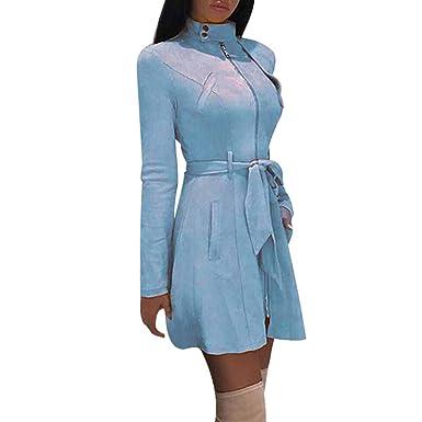 Chaquetas Largas Cremallera Elegantes de Mujer Invierno, PAOLIAN Abrigo con cinturón Rebajas Retro otoño Señora Vestido Traje Sexy Ajustado Rompevientos ...