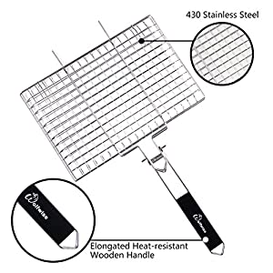WolfWise Portable 430 Stainless Steel BBQ Barbecue Grilling Basket for Fish Vegetables Steak Shrimp