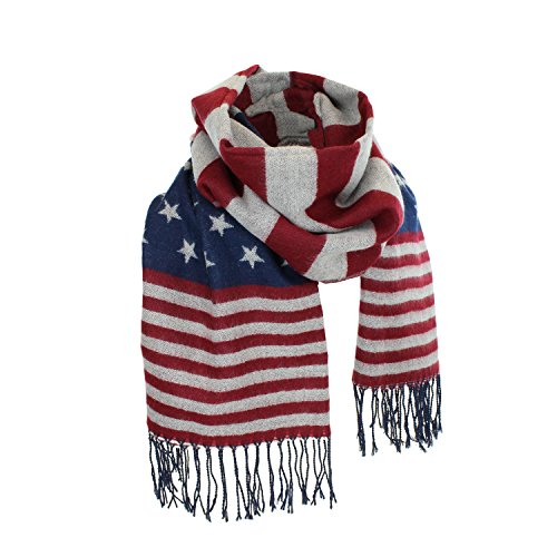 Women's Winter American Flag Fringed Shawl, Red, White and Blue Pashmina - Scarf Fringed Winter
