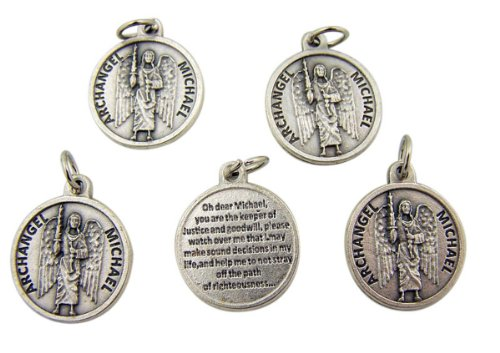 lot-of-5-archangel-saint-michael-7-8-inch-silver-tone-medal-with-prayer-on-back