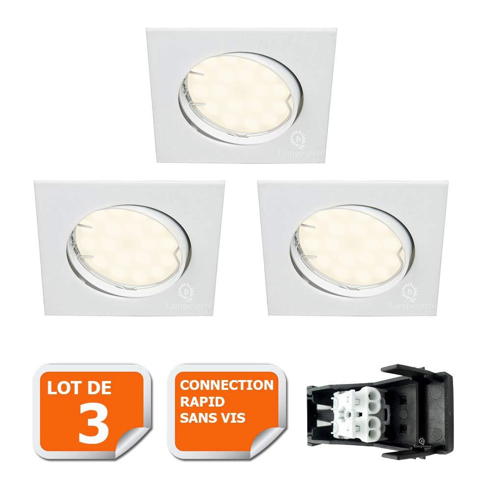 LOT DE 3 SPOT ENCASTRABLE ORIENTABLE CARRE LED SMD GU10 230V BLANC RENDU ENVIRON 50W HALOGENE