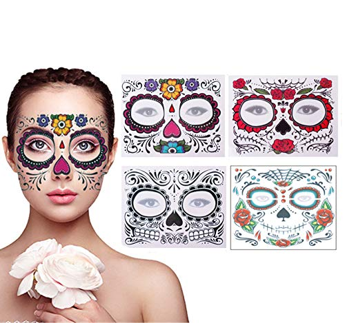 (4 Pack Day of the Dead Sugar Skull Face Temporary Tattoo Halloween Makeup Tattoo Stickers for Halloween Masquerade Party(Floral, Red Roses,Black and Floral)