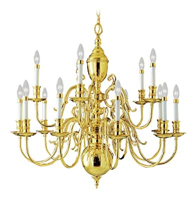 "Livex Lighting 5340-02 Wakefield 15-Light Chandelier, 36"" x 1"" x 36"", Polished Brass"