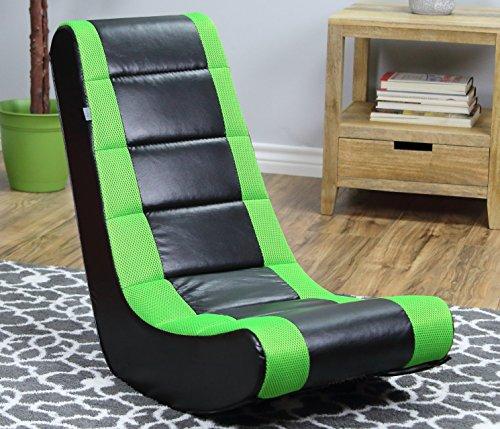 51%2BUA3pbj7L - 2-Pack-Video-Game-Rocker-Sanford-Mesh-Racing-Stripe-Neon-Green-For-KidsTeensAdults-Boys-Or-Girls-Seat-Vinyl-For-GamesTv-Room-17W-x-155D-x-39H-in