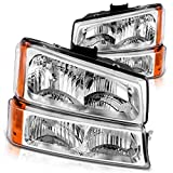 Headlight Assembly Kit Replacement for 2003-2006 Chevy Avalanche/ 2003-2007 Chevy Silverado 1500HD/ 2003-2006 Chevy Silverado 2500HD, Front Signal Light Included (Not for Body Cladding Models)