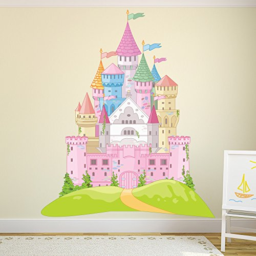 azutura Pink Fairytale Castle Wall Sticker Princess Wall Decal Girls Bedroom Home Decor available in 8 Sizes XXX-Large Digital -
