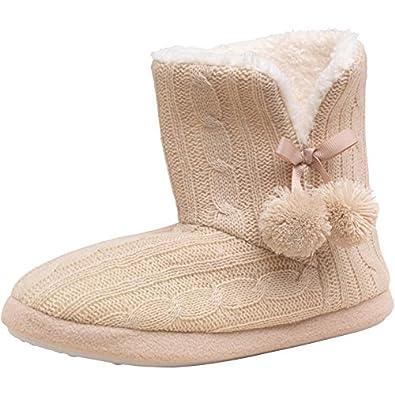 Womens Firetrap Cable Knit Slipper Boots Cream Girls Ladies Uk 3 4