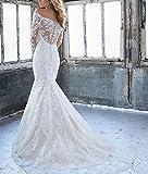 LL Bridal Womens Mermaid Lace Floral Bridal Gown Wedding Dresses for Bride 2018 LLAP193