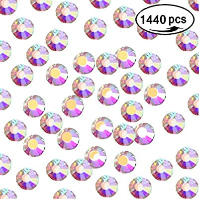 1440pcs 2mm-4mm Nail Rhinestones AB Crystals Round Flatback Glass Gems Stones Nail Decoration Art for Nails Crafts Shoes Clothes Eye Makeup