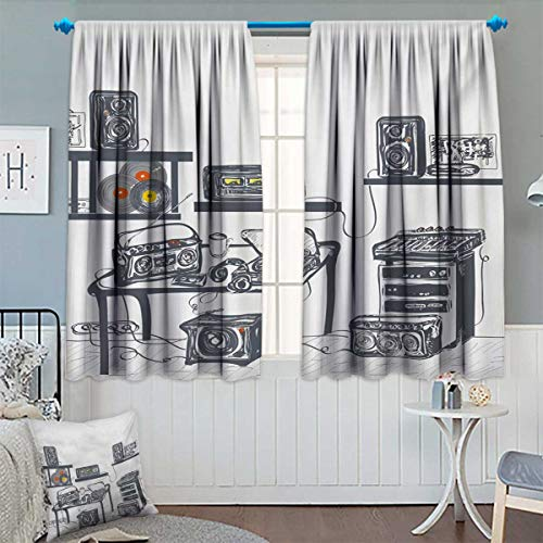 - Anhounine Modern,Blackout Curtain,Recording Studio with Music Devices Turntable Records Speakers Digital Illustration,Decor Curtains by,Cadet Blue,W72 x L45 inch