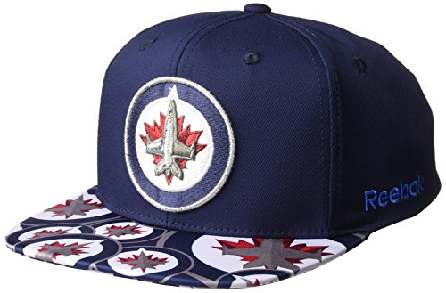 fan products of NHL Winnipeg Jets Men's SP17 All Over Print Flat Brim Snapback Hat, Navy, One Size