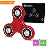 SENQIAO Tri Fidget Hand EDC Finger Spinner Toy Stress Reducer with Premier Ceramic bearing For ADD, ADHD, Anxiety, and Autism Adult Children (Red)