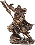 """Custom & Unique {13"""" x 8.5"""" Inch} 1 Single Large, Home & Garden """"Standing"""" Figurine Decoration Made of Genuine Bronze w/ Antique Traditional Guan Yu Warrior Style {Gold, Copper & Black Color}"""