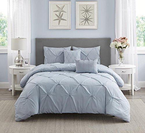 Wonder Home Pinch Pleat 5 Piece Comforter Set, Oversized, Fade Resistant, Wrinkle Free, Decorative Luxury Oversized Bedding Set, All Season Pintuck Style, Sky Blue, Queen, 92''x96''