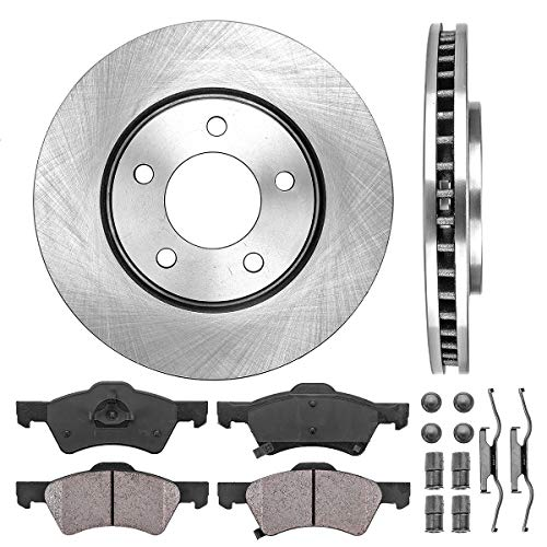 - FRONT 281 mm Premium OE 5 Lug [2] Brake Disc Rotors + [4] Ceramic Brake Pads + Clips