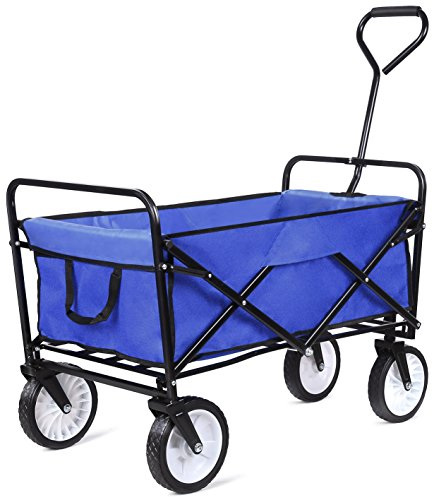 femor Collapsible Folding Outdoor Utility Wagon, Heavy Duty Garden Cart for Shopping Beach Outdoors (Blue)