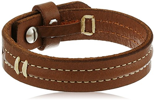 Fossil Vintage Casual Stitched Leather Silver Bracelet