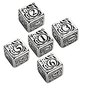 Qworkshop Set of Metal D6 Dice (5): Steampunk Metal Black