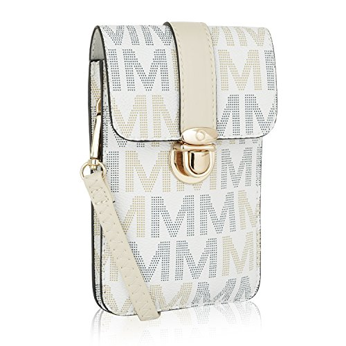 Edge Collection Mobile Womens (MKF Small Crossbody Cell Phone Wallets for Women - Purse with Shoulder Strap - Vegan Leather Cell Phone Bag Case White)